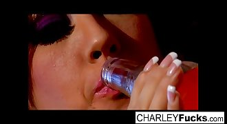 Charlie has some slippery and wet fun with sexy black-haired Capri