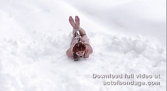 Russian redhead Greta in snow bondage. Part 2