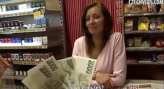 Amateur Brunette MILF gets fucked for Money in a Tobacco Shop