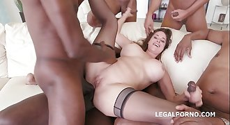 Busty Milf Cathy Heaven gets her asshole smashed by 5 BBC's