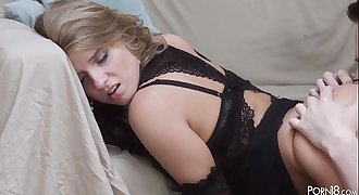 Sofi Goldfinger meets her lover in sexy black peignoir