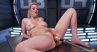 Busty blonde Cherry Ripped having fun with dildo and fucking machine