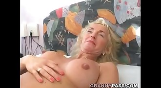 Buxomy Blonde Granny Gets Her Hairy Pussy Fucked